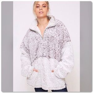 Two Tone Oversized Soft Fluffy Sherpa Top